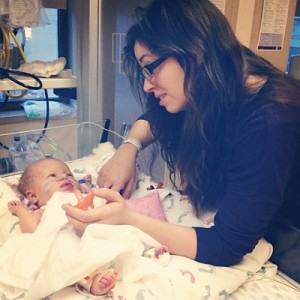 Olive and her mother Stefani, four days after Olive had brain surgery to remove excess blood due to the Vitamin K deficiency bleed.